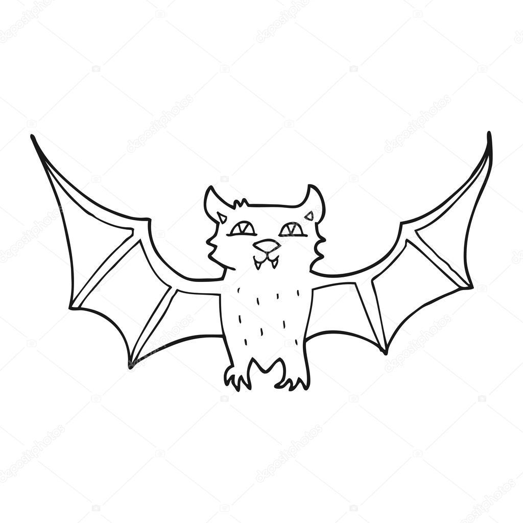murciélago de halloween de dibujos animados blanco y negro — Vector ...