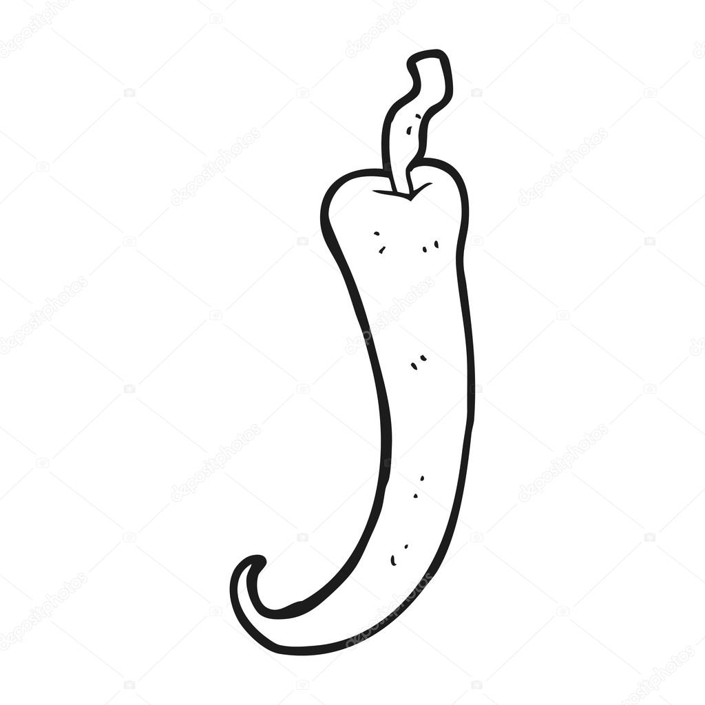 Piment de dessin anim noir et blanc image vectorielle - Dessin piment ...