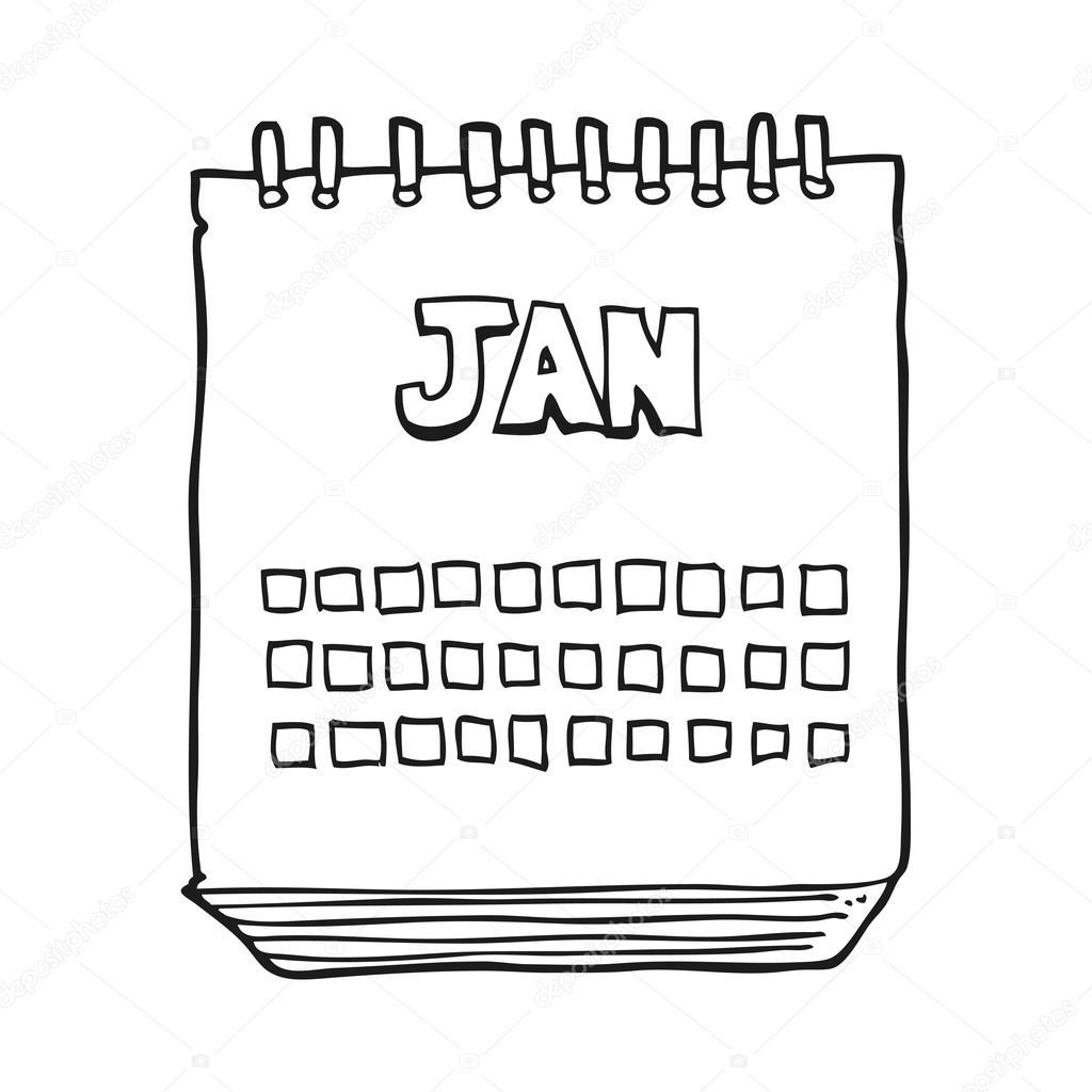 Calendario Dibujo Blanco Y Negro.Mes De Mostrar Dibujos Animados Blanco Y Negro De Enero