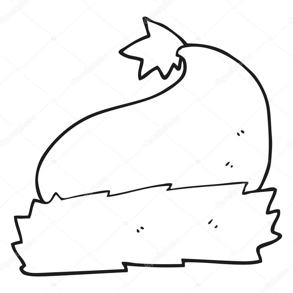 sombrero de Navidad de dibujos animados blanco y negro — Archivo ...
