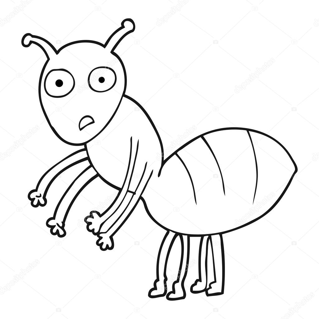 hormiga de dibujos animados blanco y negro — Vector de stock ...