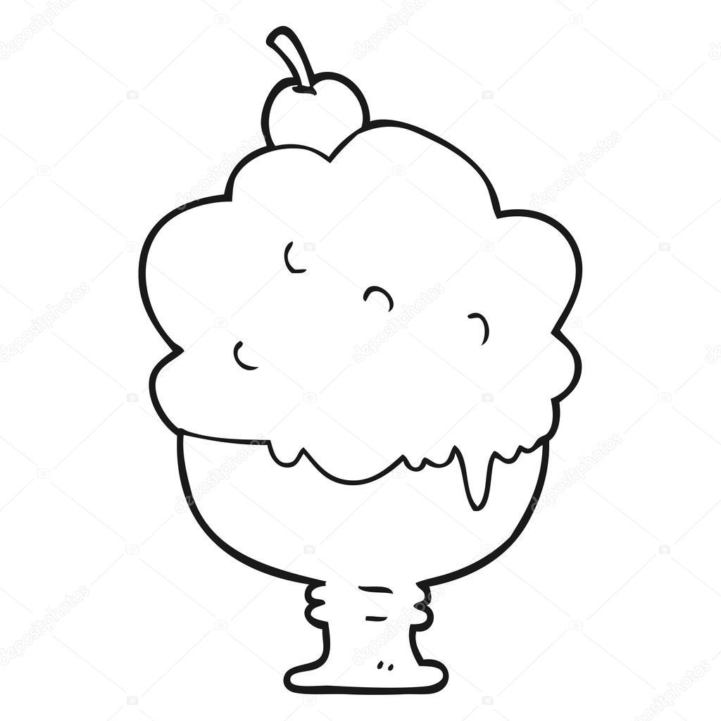 Siyah Beyaz çizgi Film Dondurma Stok Vektör Lineartestpilot