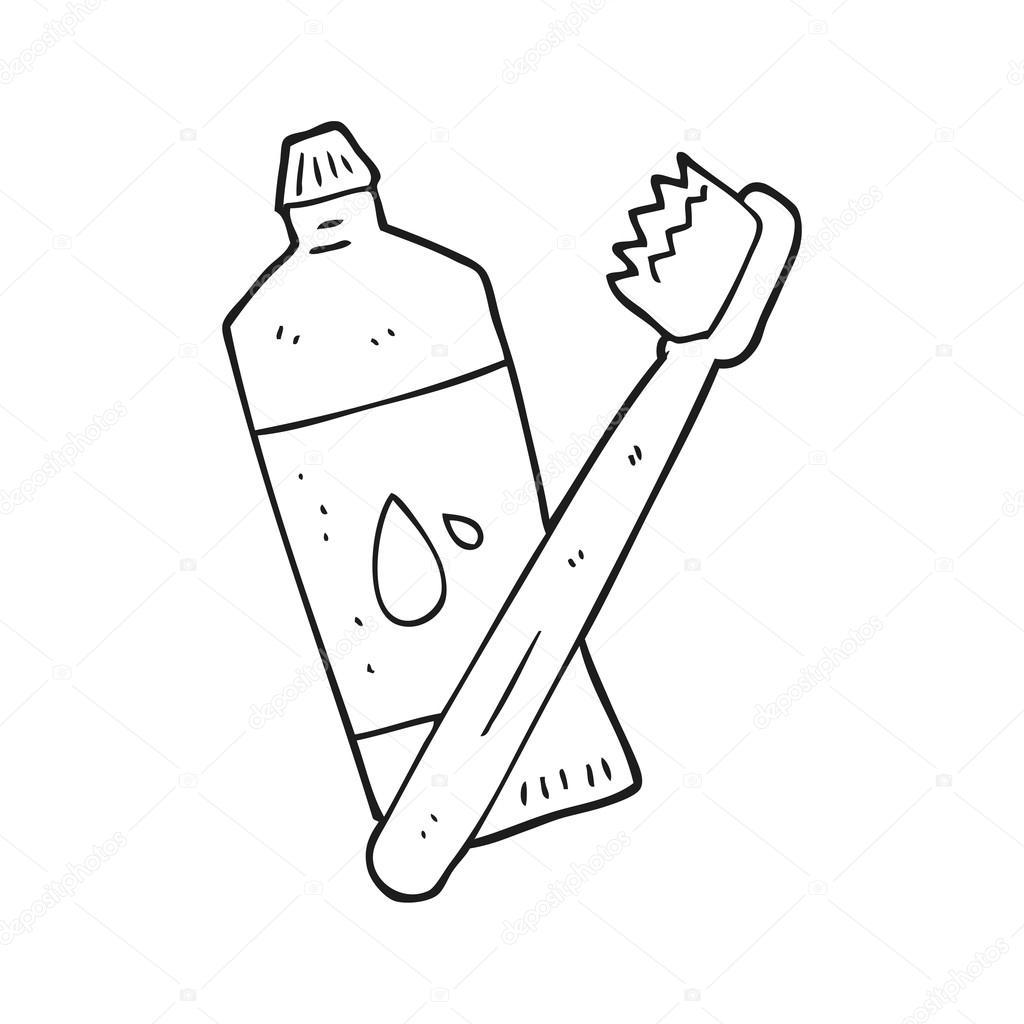 cepillo de dientes de dibujos animados blanco y negro — Vector de ...