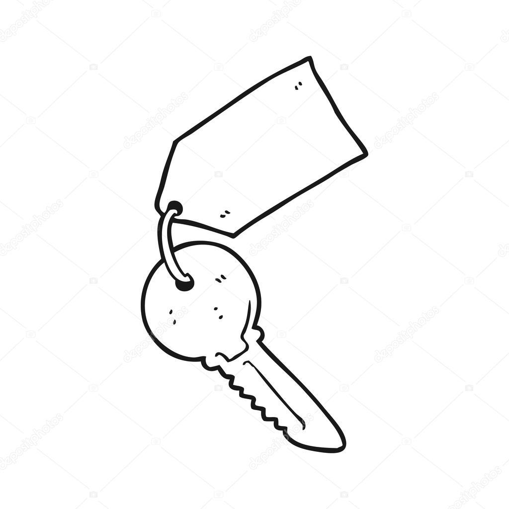 Animado Llave Para Colorear Llave De Dibujos Animados Blanco Y