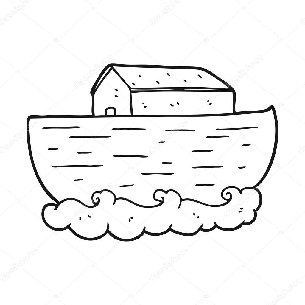Siyah Beyaz çizgi Film Nuhun Gemisi Stok Vektör Lineartestpilot