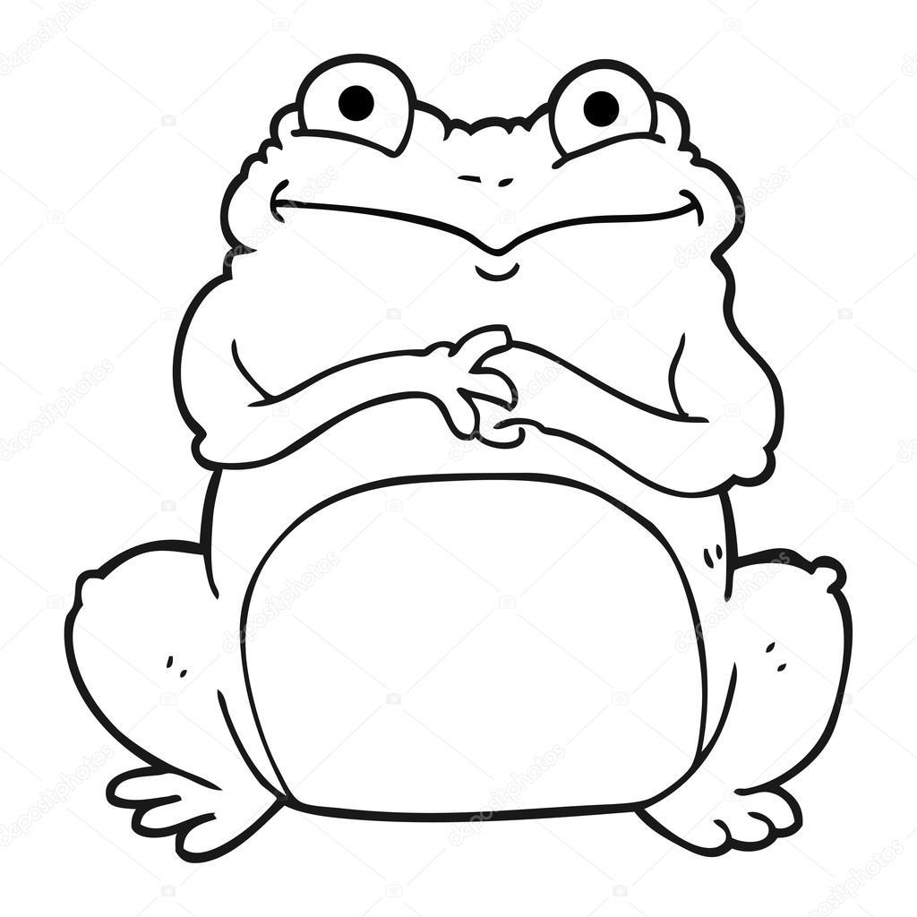 rana divertida de dibujos animados blanco y negro — Archivo Imágenes ...