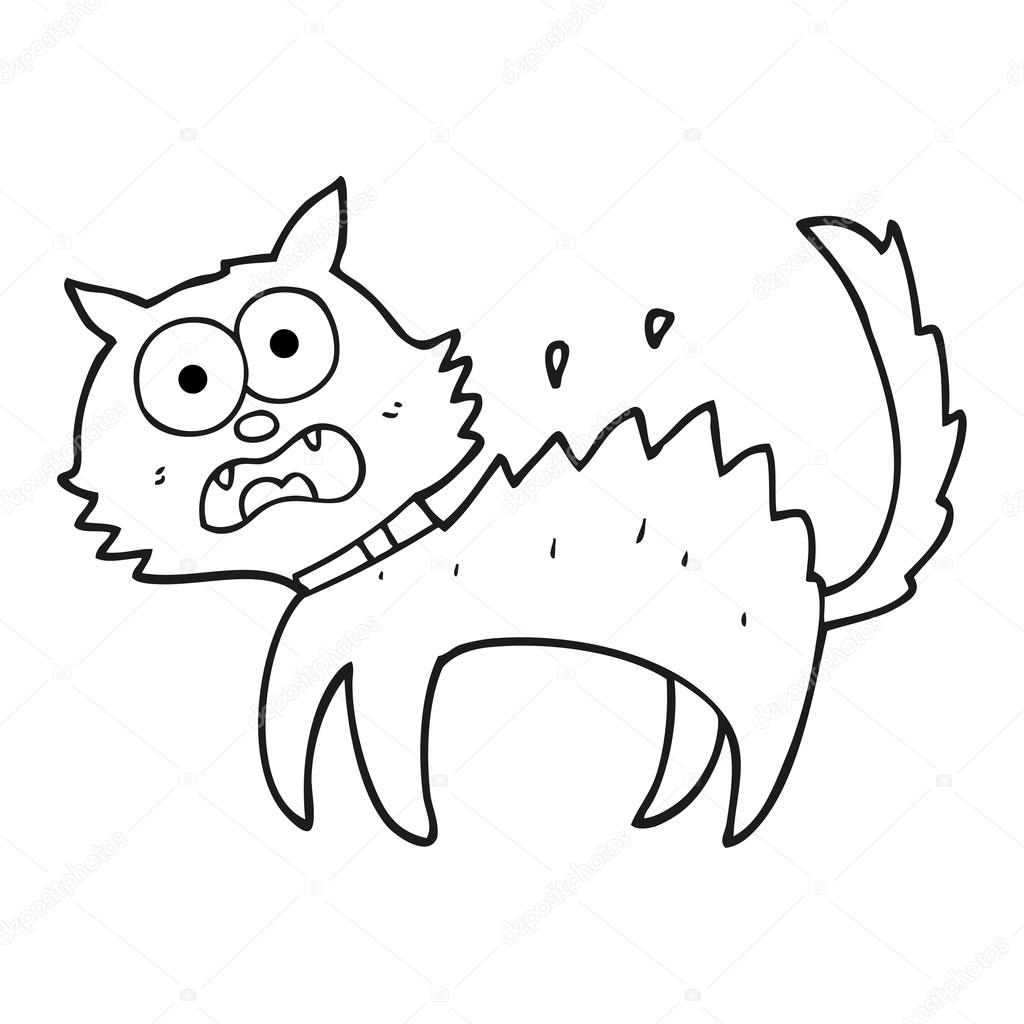 dibujos animados blanco y negro gato negro asustado — Vector de ...