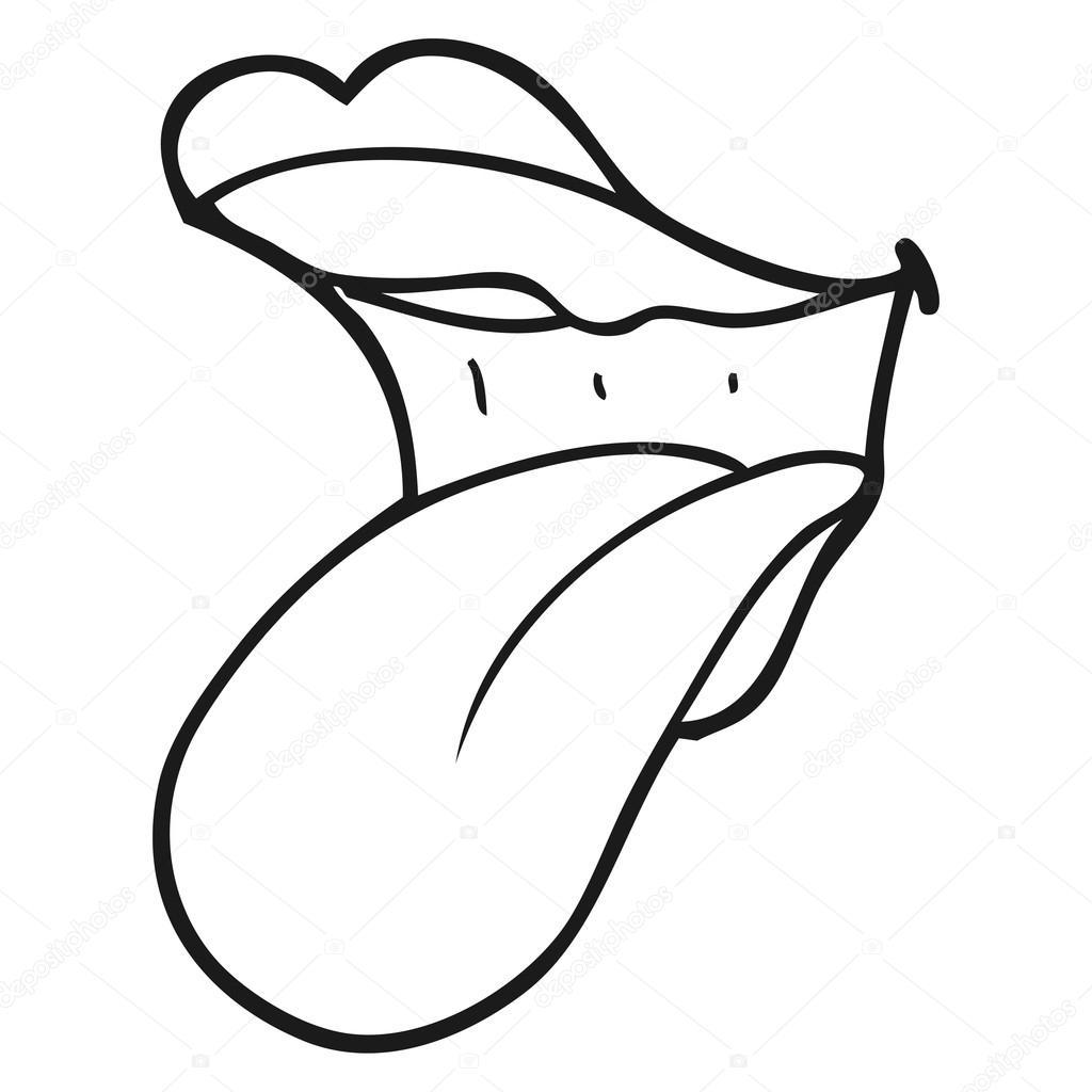 bouche de dessin anim u00e9 noir et blanc qui sort la langue