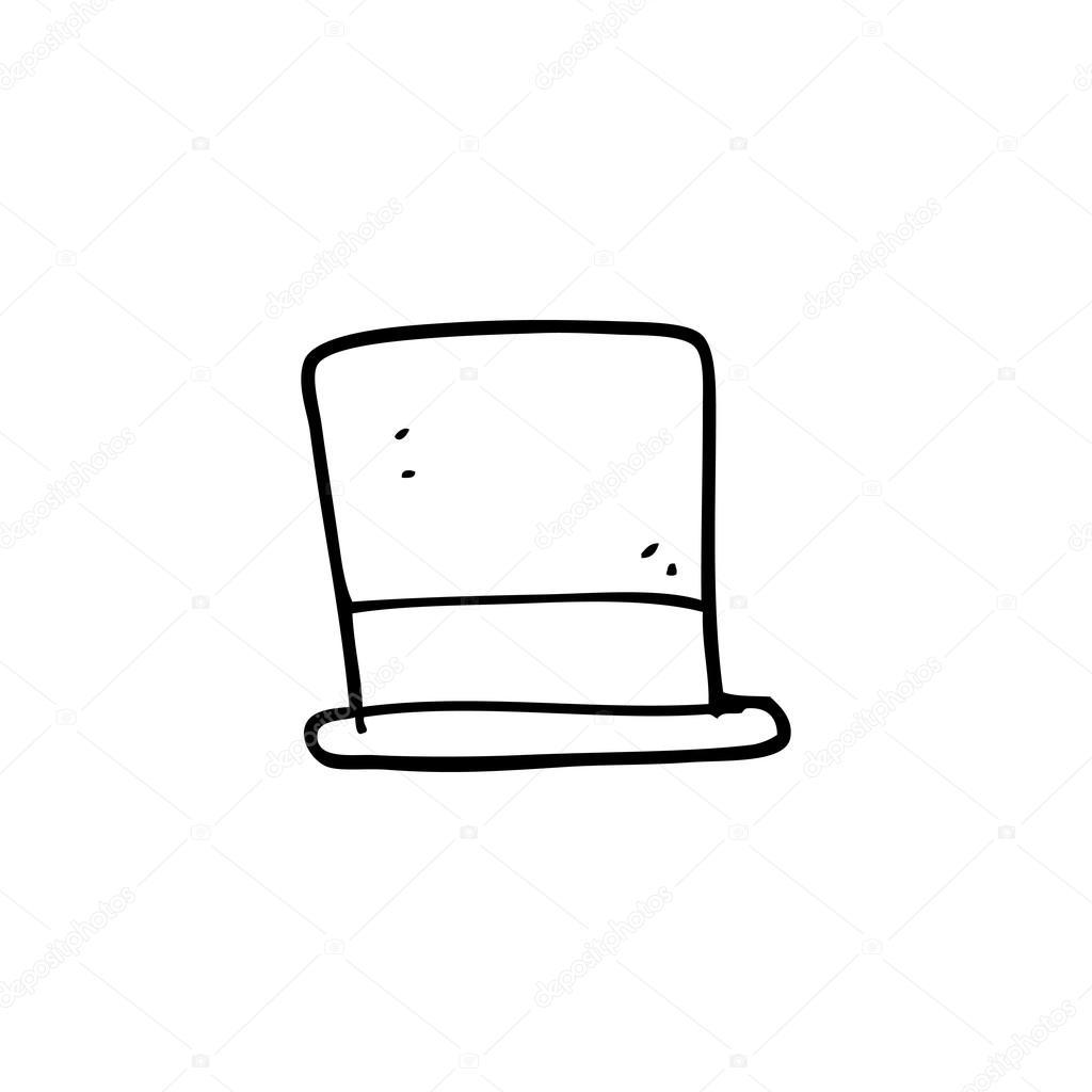 Chapeau Haut De Forme Noir Et Blanc Dessin Animé Image Vectorielle