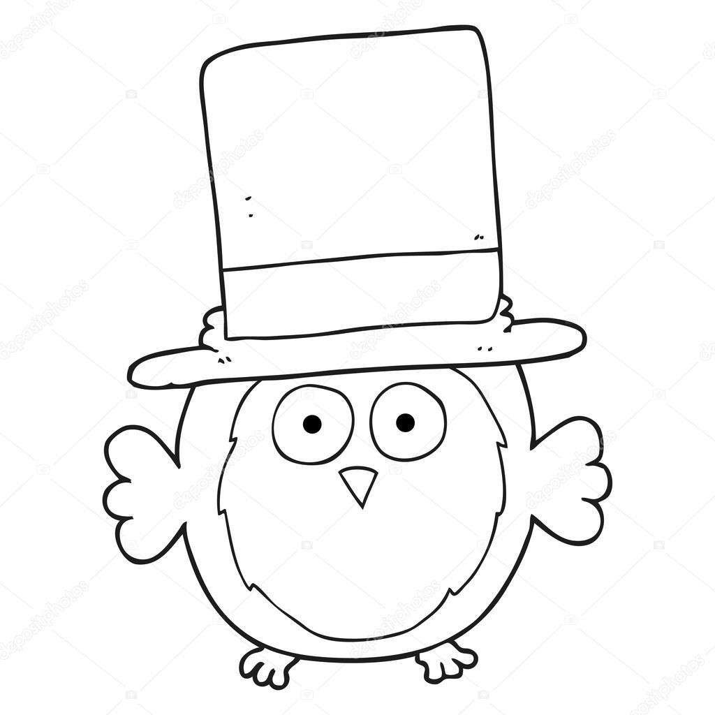 Silindir şapka Giymiş Siyah Beyaz çizgi Film Baykuş Stok Vektör