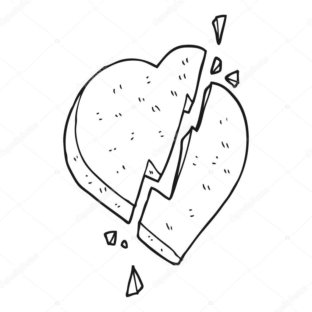 símbolo de corazón roto de dibujos animados blanco y negro — Vector ...