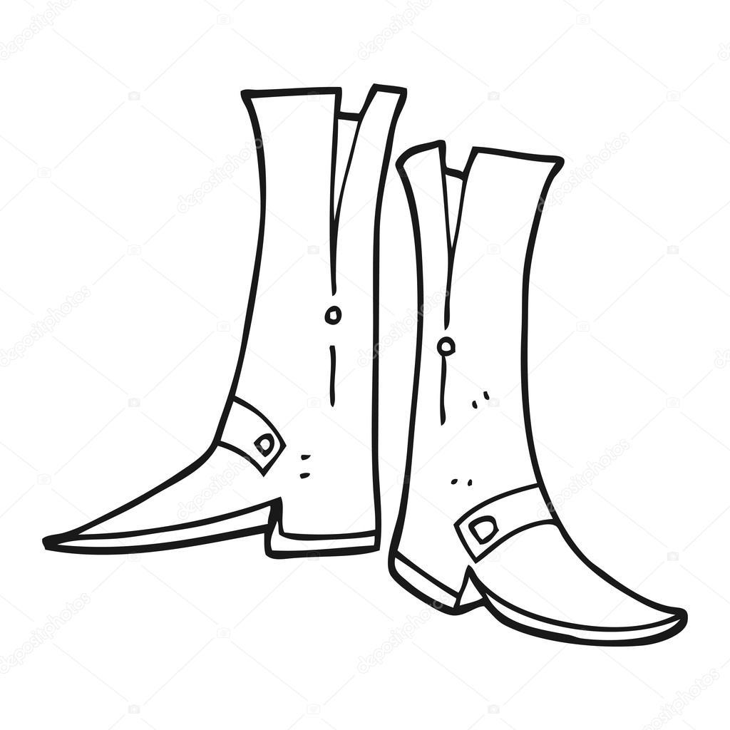 Bottes de caricature noir et blanc dessiné à main levée vecteur par lineartestpilot