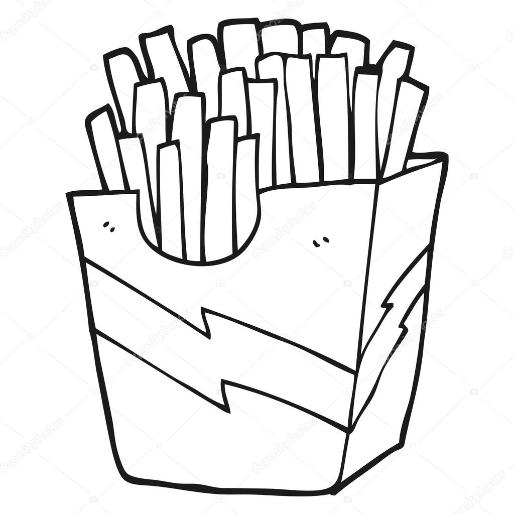 Black And White Cartoon French Fries Stock Vector