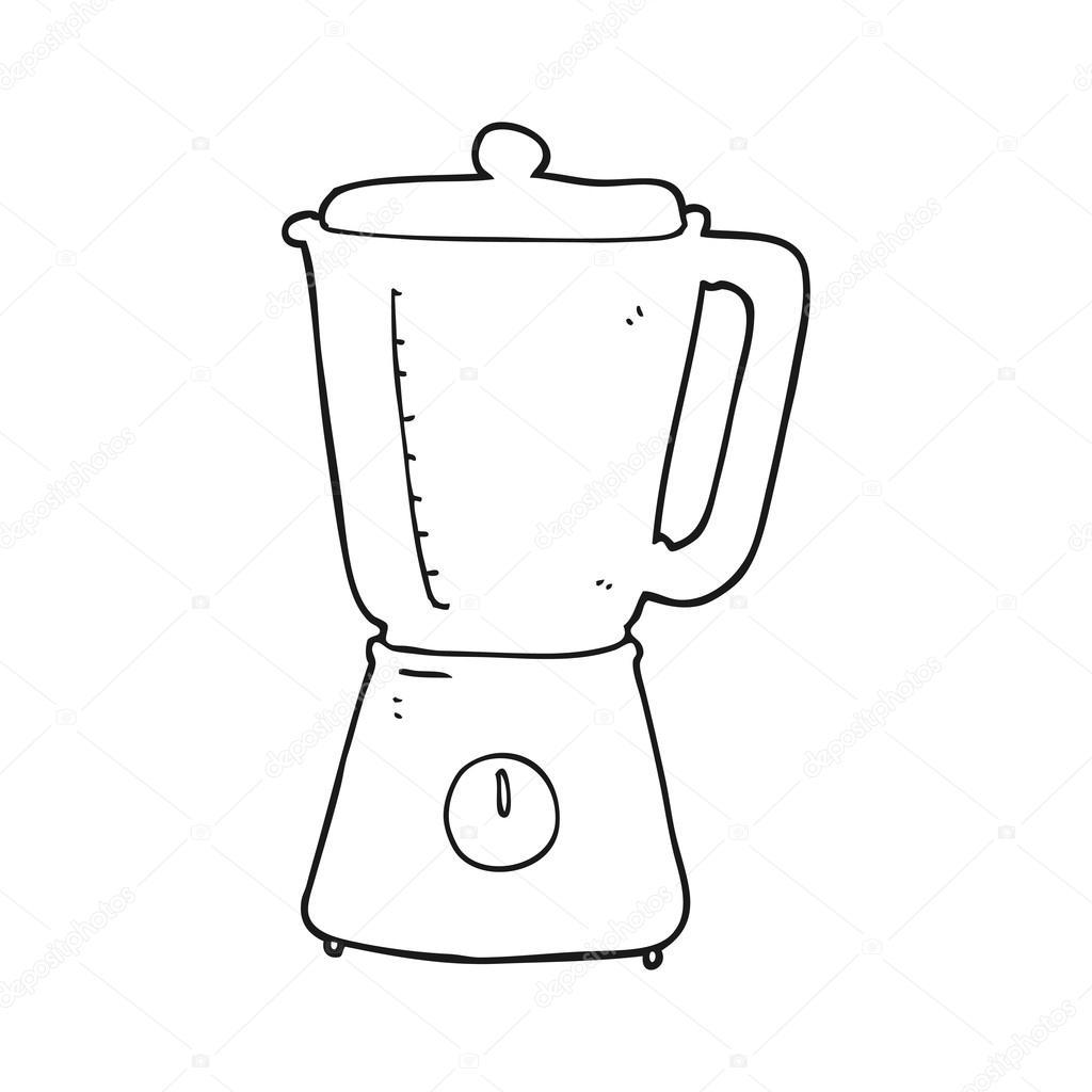 Licuadora De Dibujos Animados Blanco Y Negro Archivo