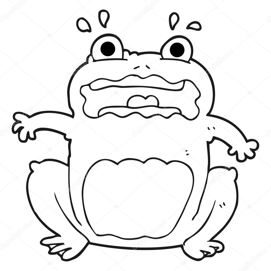 blanco y negro de dibujos animados rana gracioso asustado — Vector ...