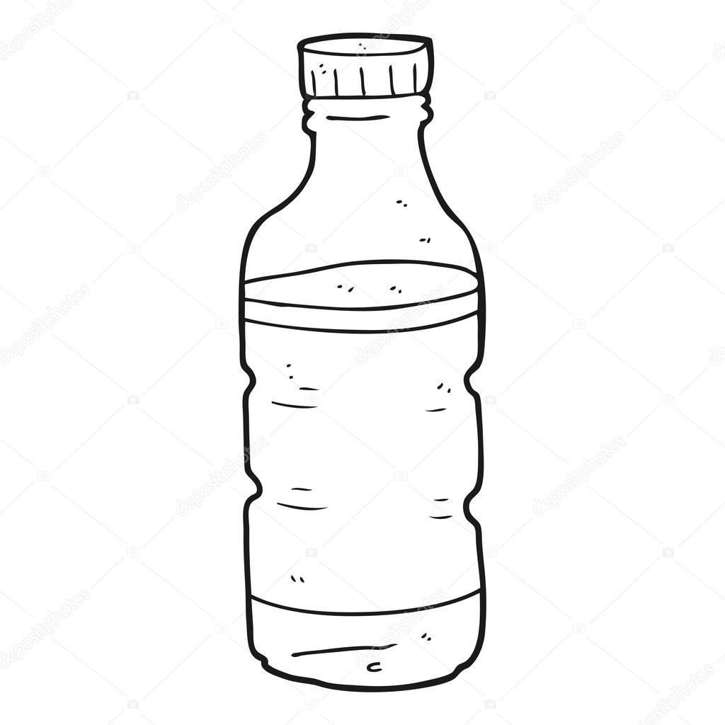 Kleurplaat Fles Water Czarno Biały Rysunek Butelka Wody Grafika Wektorowa