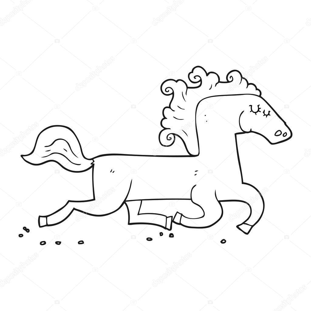 dibujos animados blanco y negro corriendo caballo — Archivo Imágenes ...