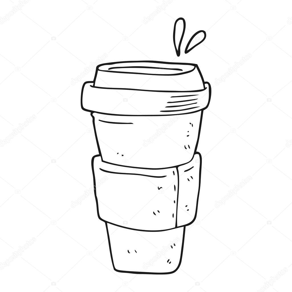 taza de café blanco y negro de dibujos animados — Vector de stock ...