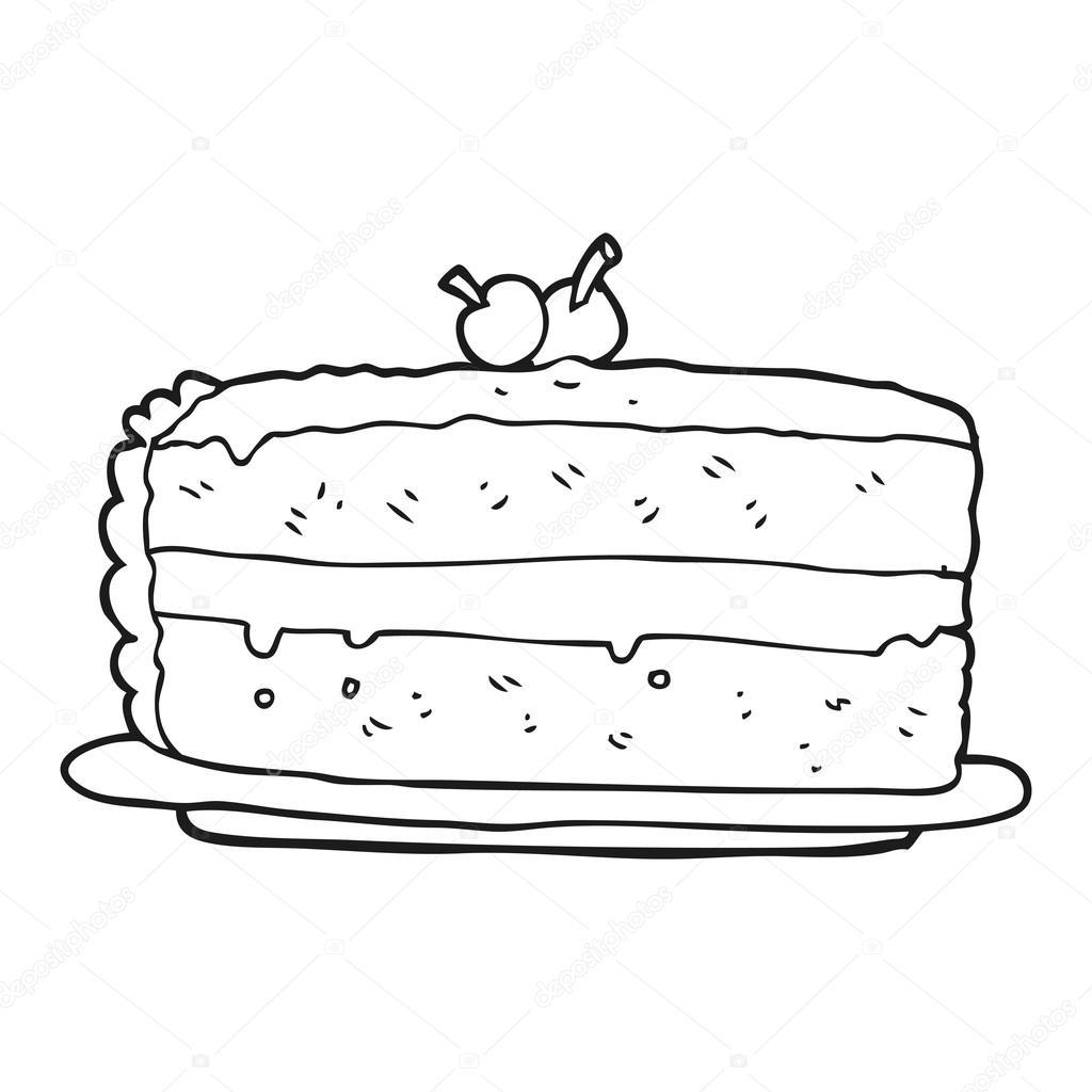 pastel de dibujos animados blanco y negro — Vector de stock ...