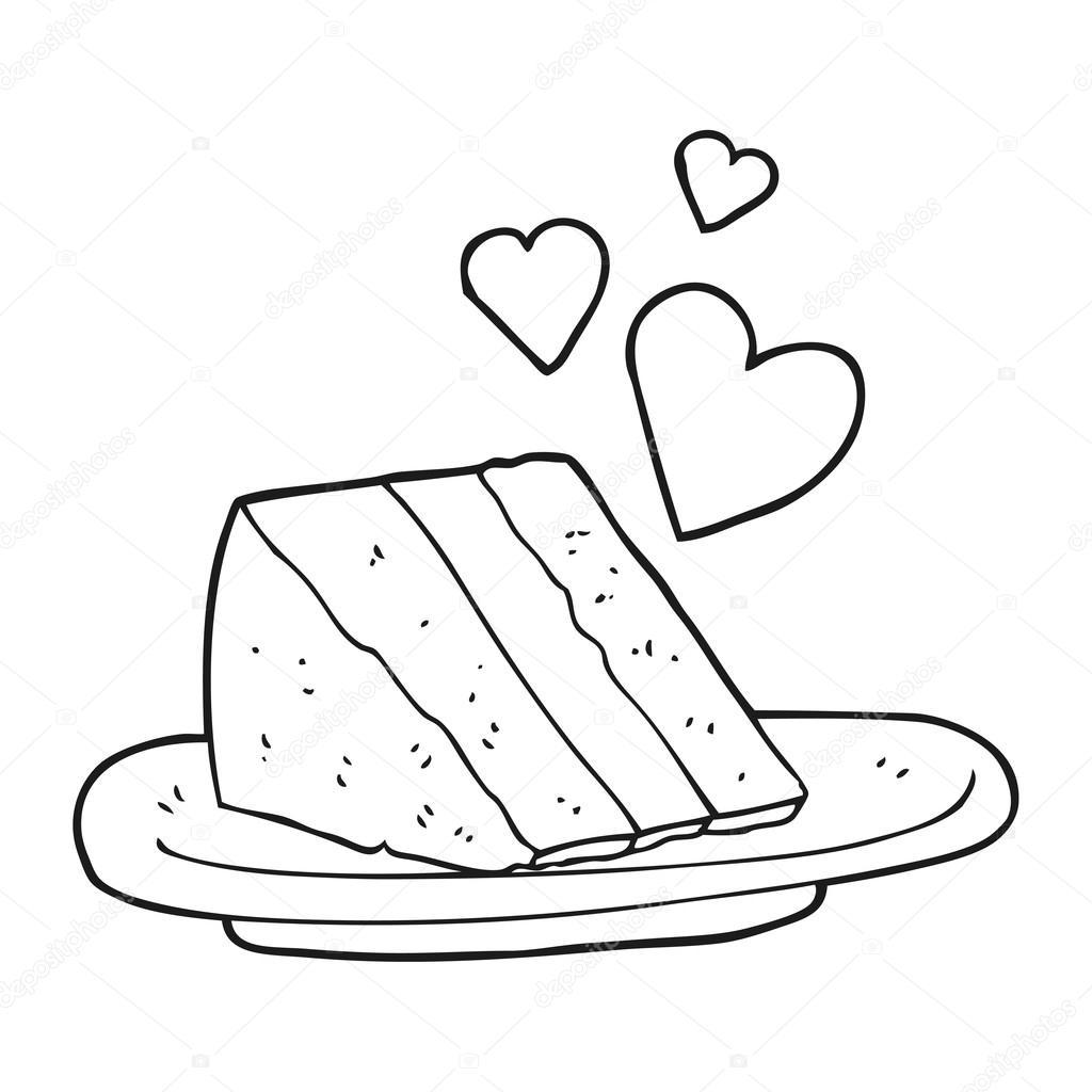 schwarzen und weißen Cartoon schönen Kuchen — Stockvektor ...