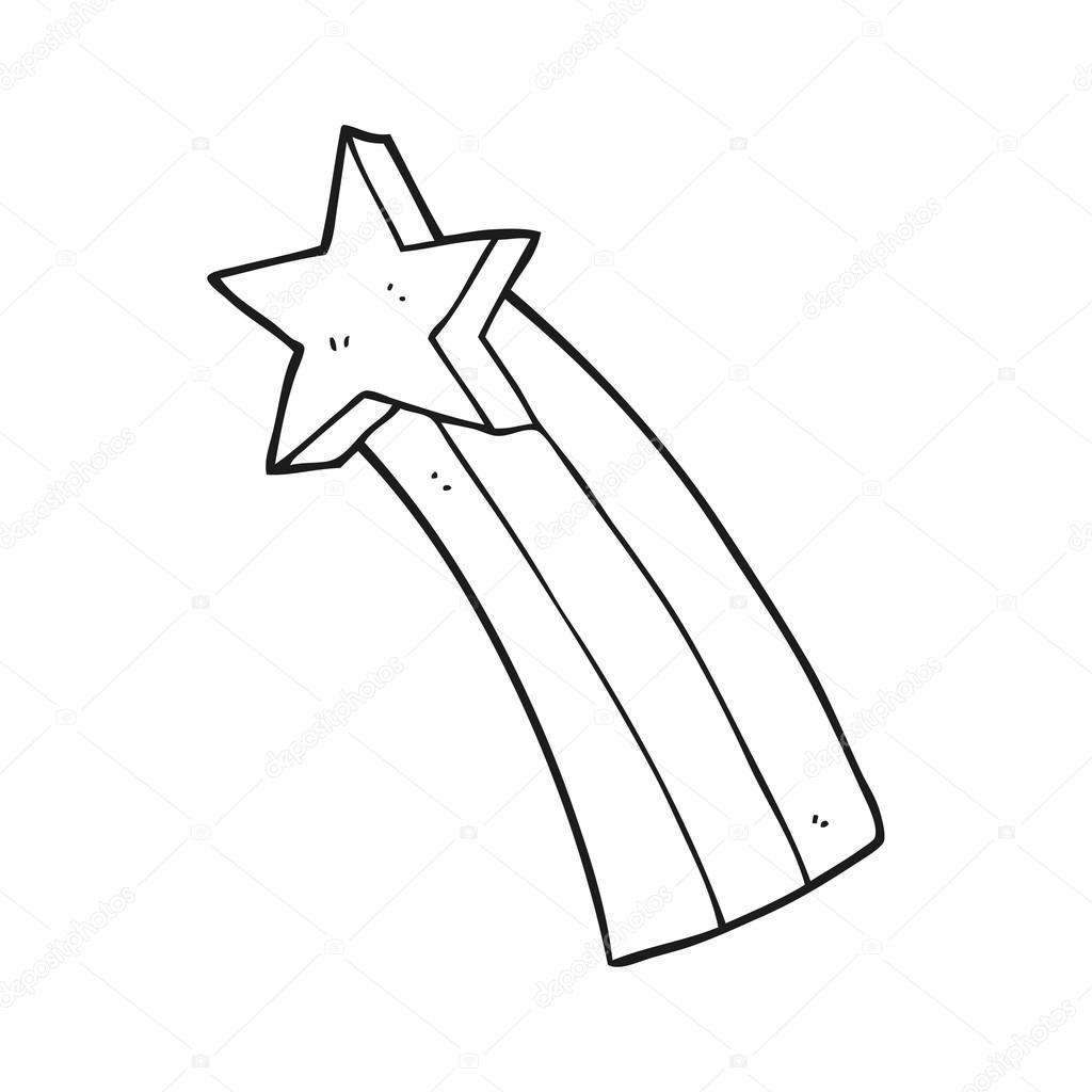 estrella fugaz de dibujos animados blanco y negro — Archivo Imágenes ...
