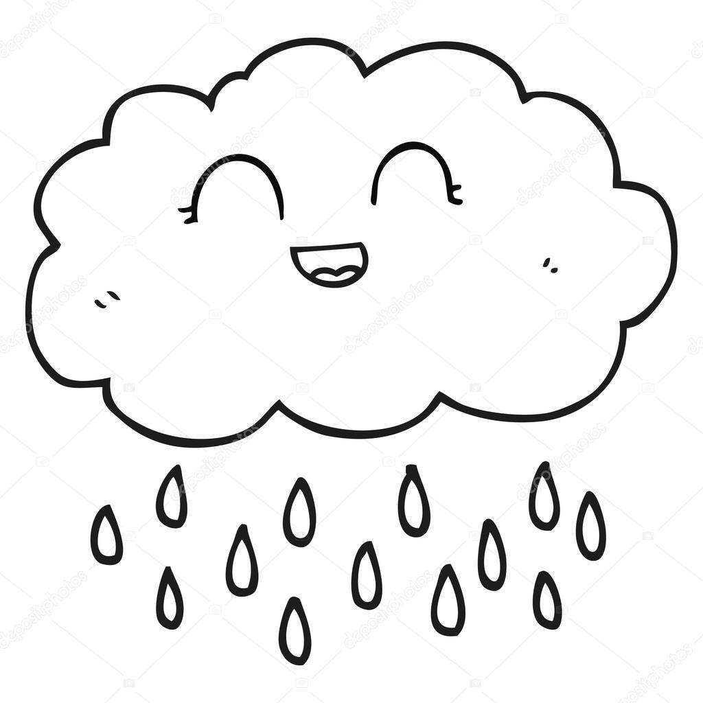 Siyah Beyaz çizgi Film Yağmur Bulutu Stok Vektör Lineartestpilot