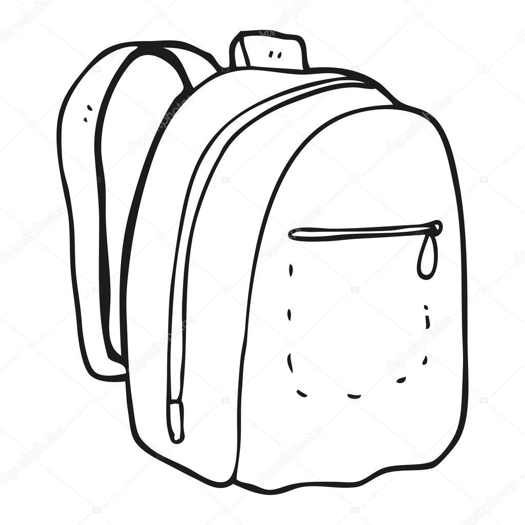 56b99a245a černé a bílé kreslené batoh — Stock Vektor © lineartestpilot  101472822