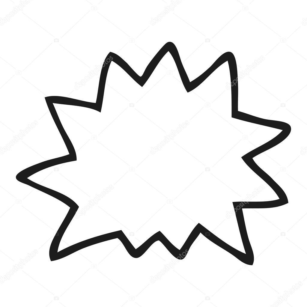 Black And White Cartoon Explosion Symbol Stock Vector
