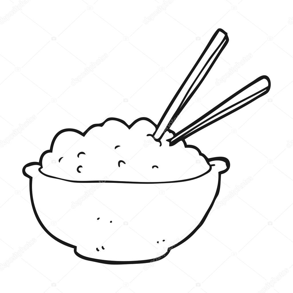 Bol con arroz blanco y negro de dibujos animados — Archivo Imágenes ...