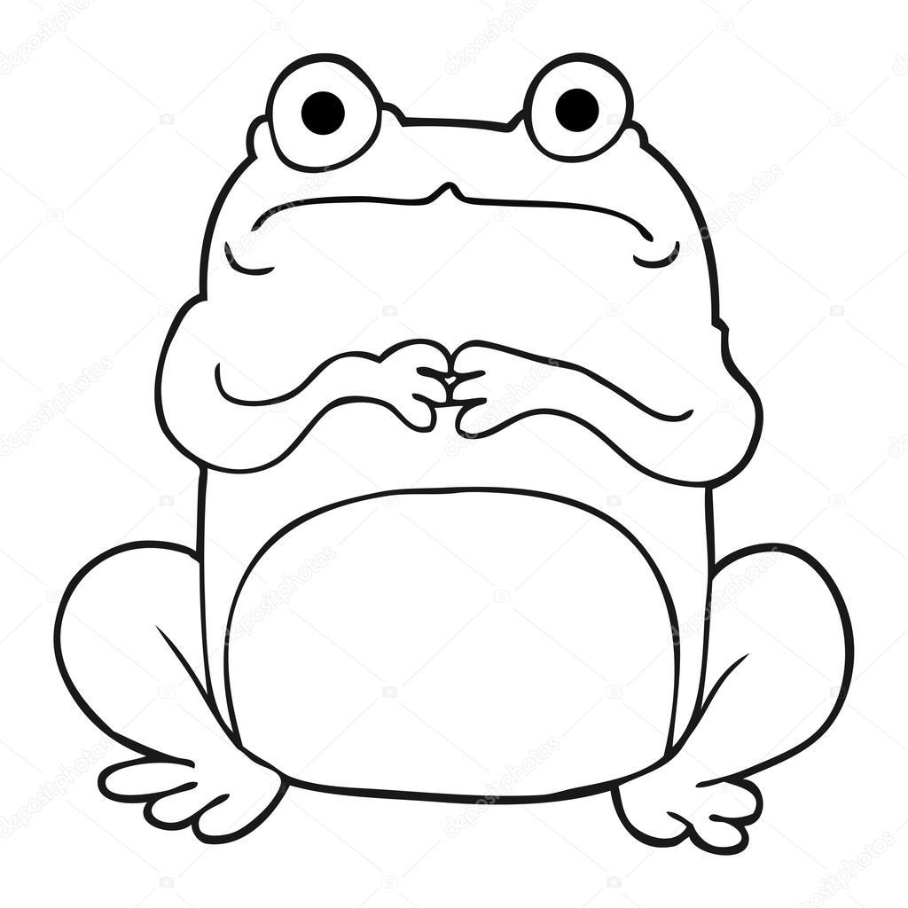 blanco y negro de dibujos animados rana nervioso — Archivo Imágenes ...