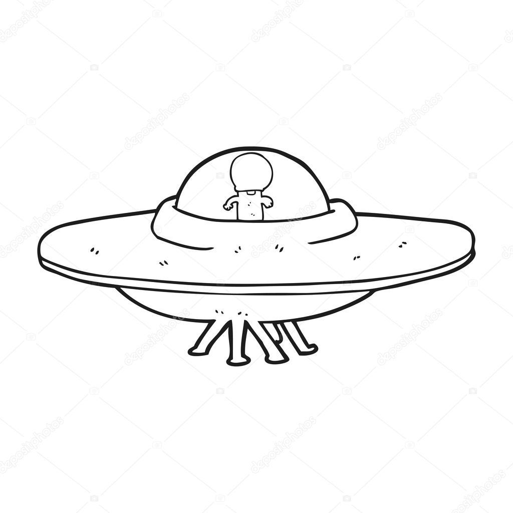 Dessin Soucoupe Volante soucoupe volante extraterrestre de dessin animé noir et blanc