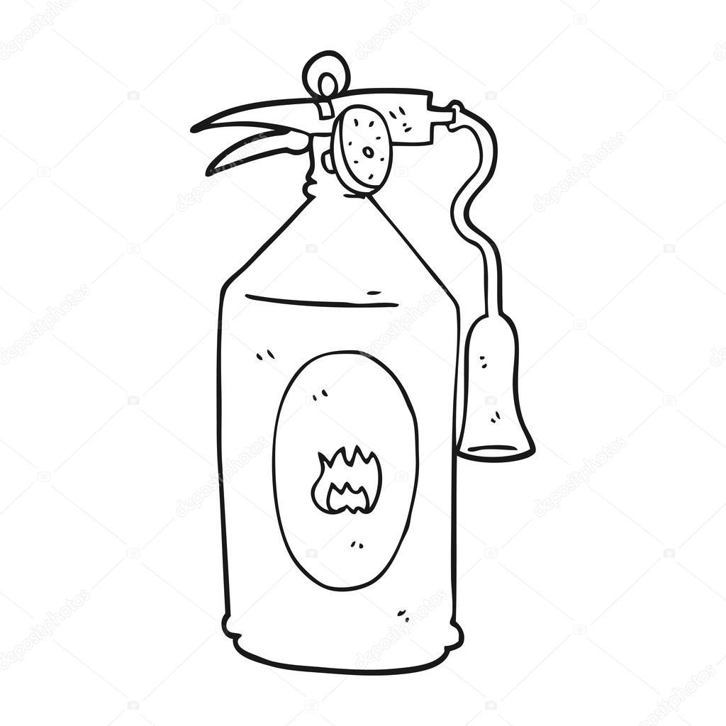 extintor de incendios de dibujos animados blanco y negro — Vector de ...