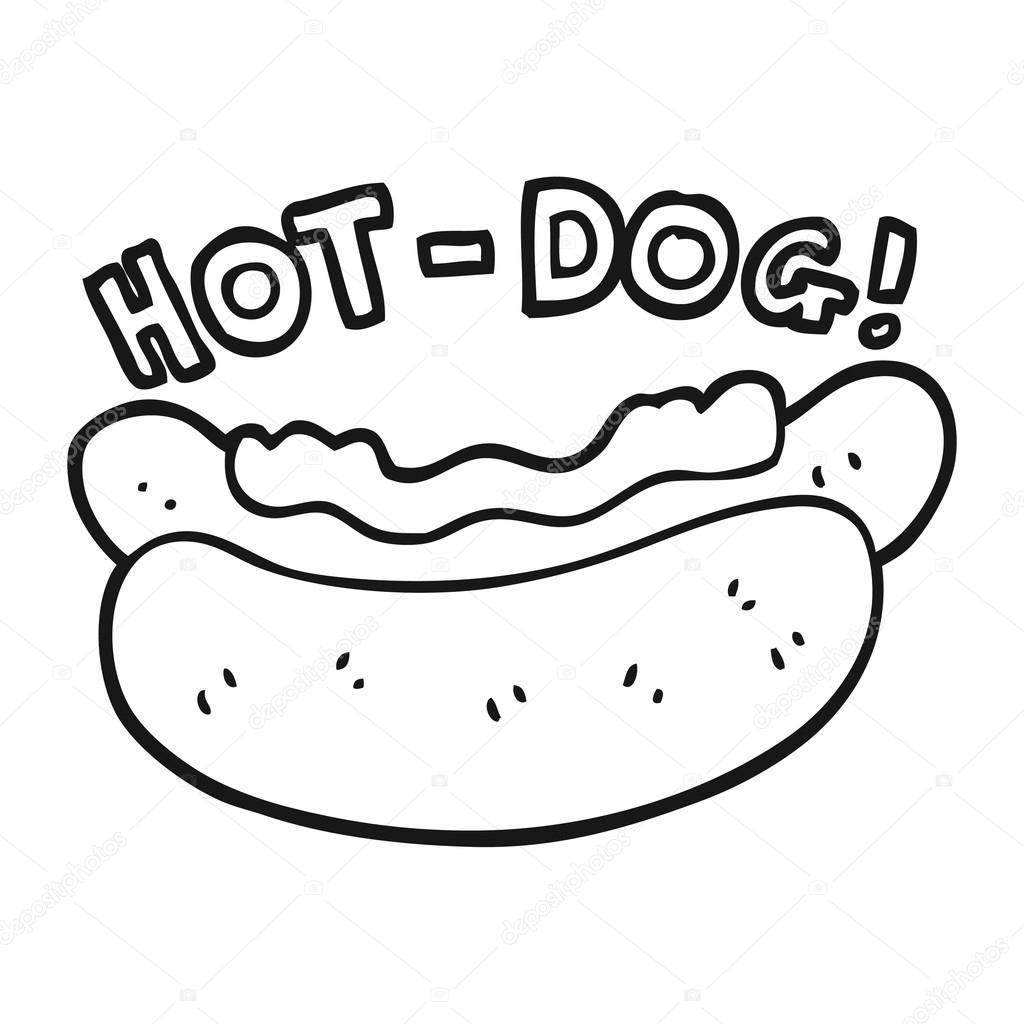 Clipart Hot Dog Black And White Black And White Cartoon Hotdog Stock Vector C Lineartestpilot 101497336