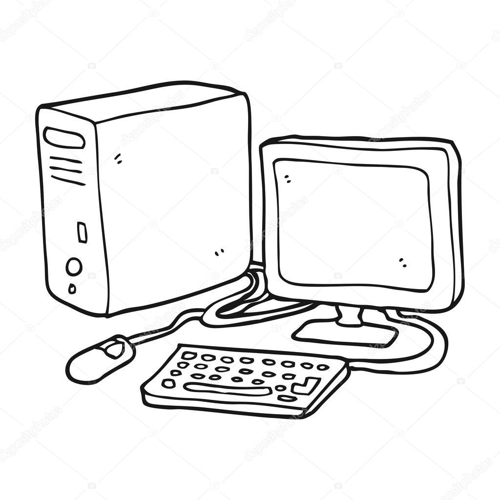 computador desenho preto e branco — Vetores de Stock ...