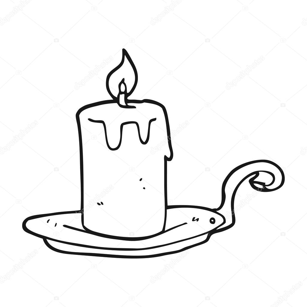 black and white cartoon candle lamp — Stock Vector ... for Candle Clip Art Black And White  56bof