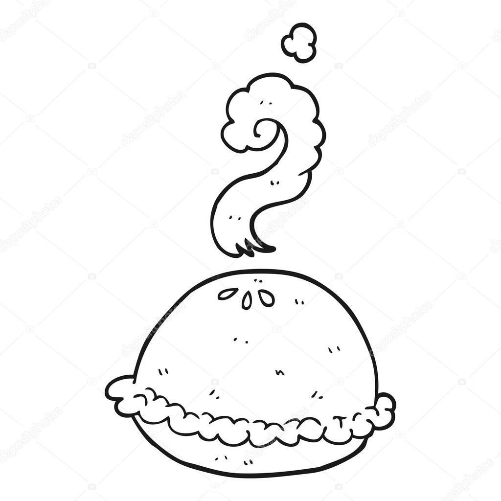 schwarzen und weißen Cartoon heißen Kuchen — Stockvektor ...