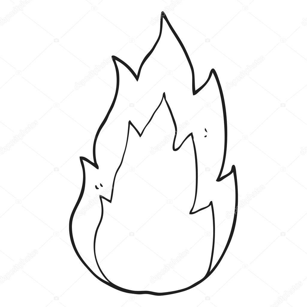 fuego blanco y negro de dibujos animados — Vector de stock ...