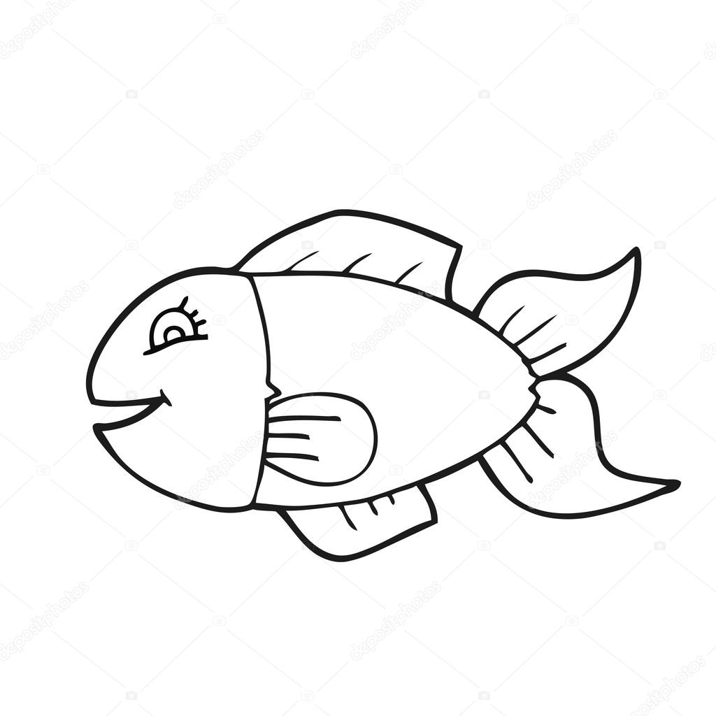 Pescado Blanco Y Negro De Dibujos Animados Vector De Stock