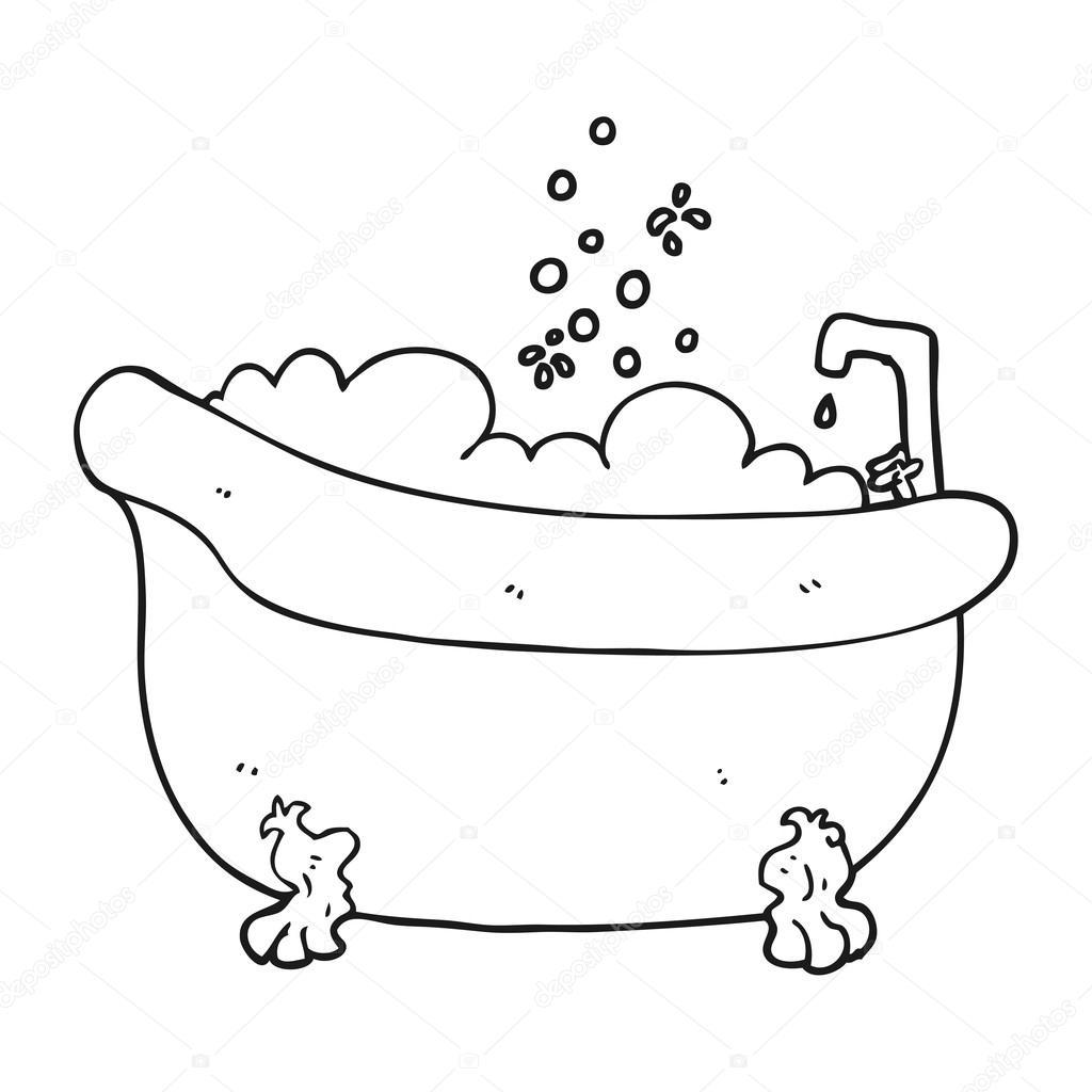 Schwarze Und Weiße Cartoon Badewanne Voller Wasser Stockvektor
