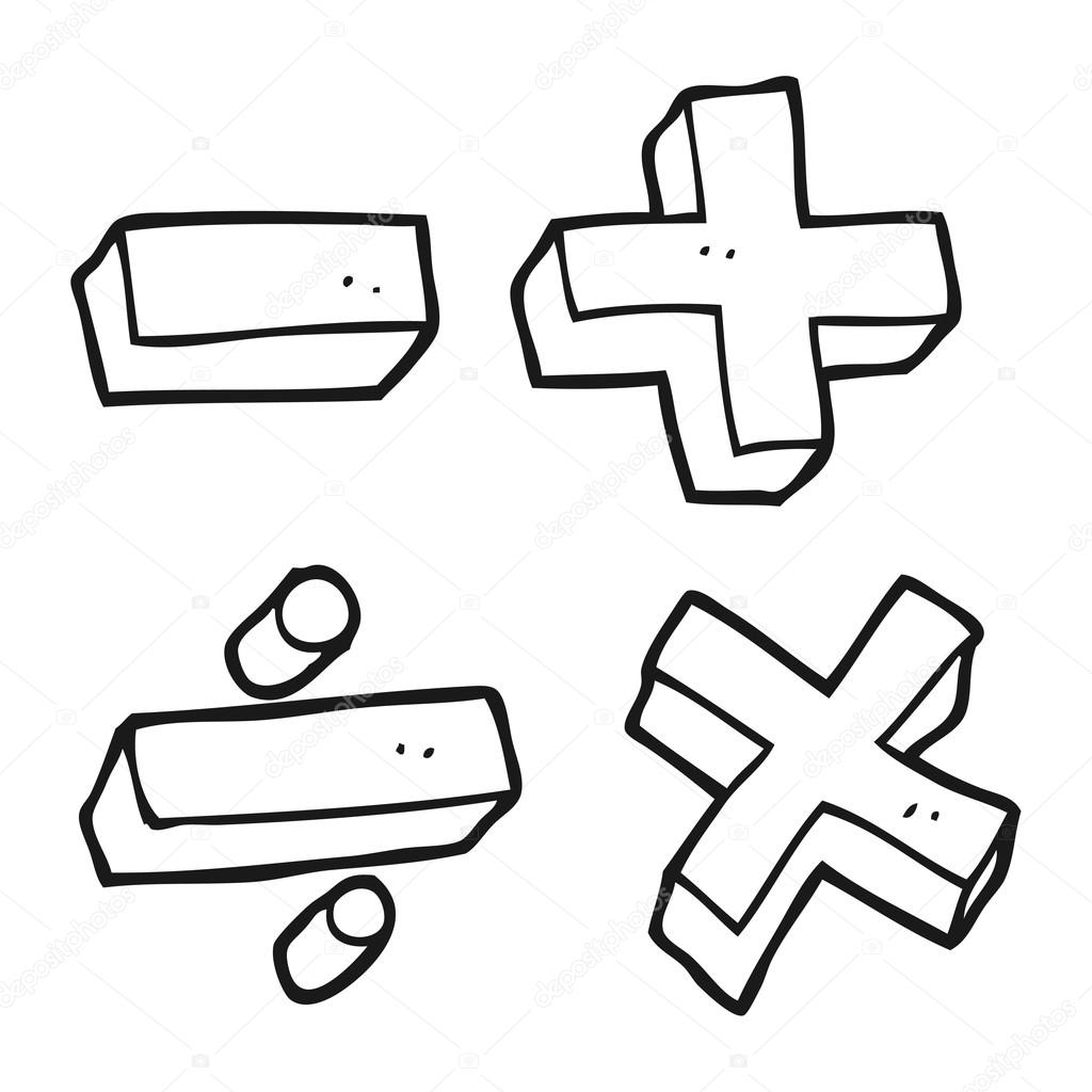 black and white cartoon math symbols — stock vector