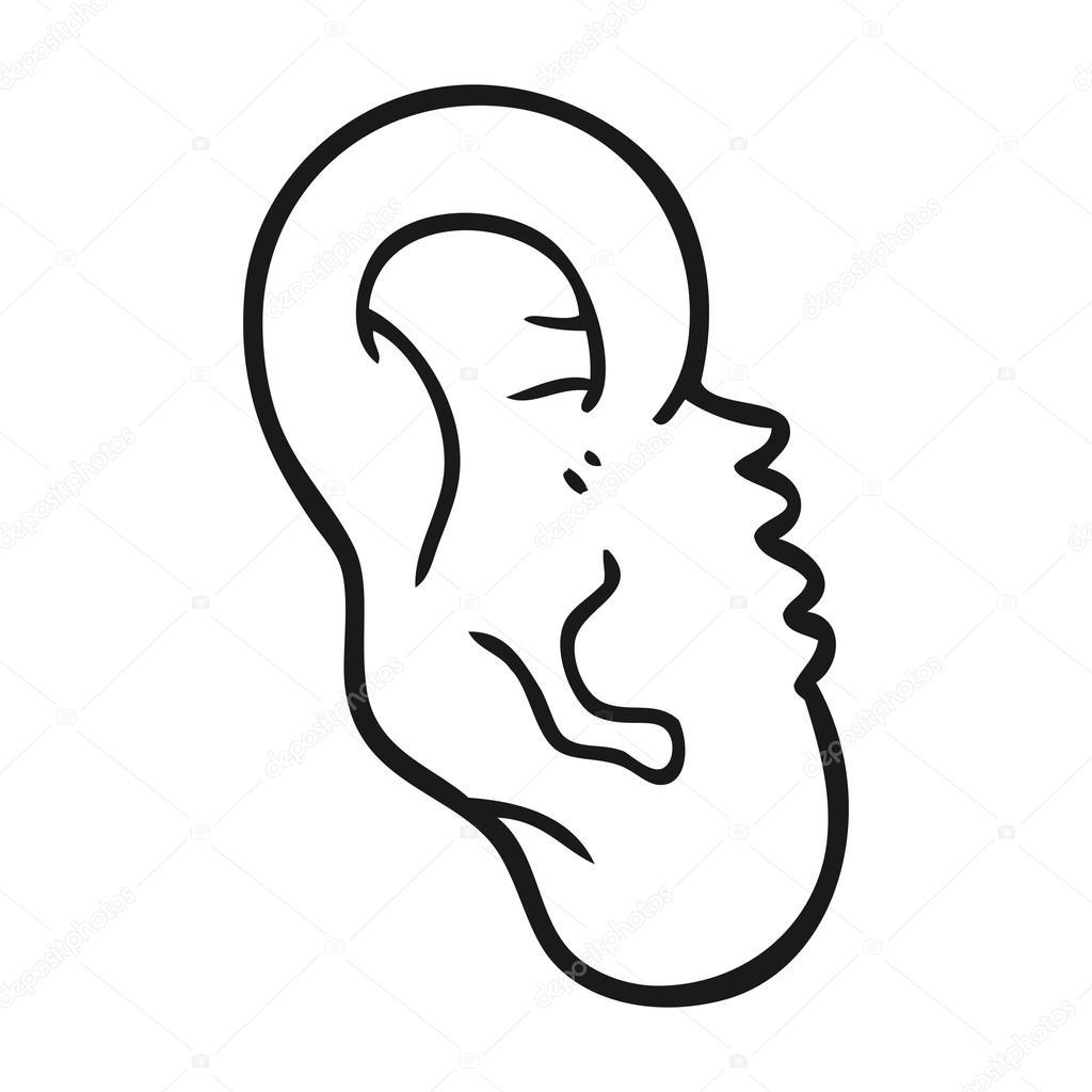 oído humano dibujos animados blanco y negro — Archivo Imágenes ...