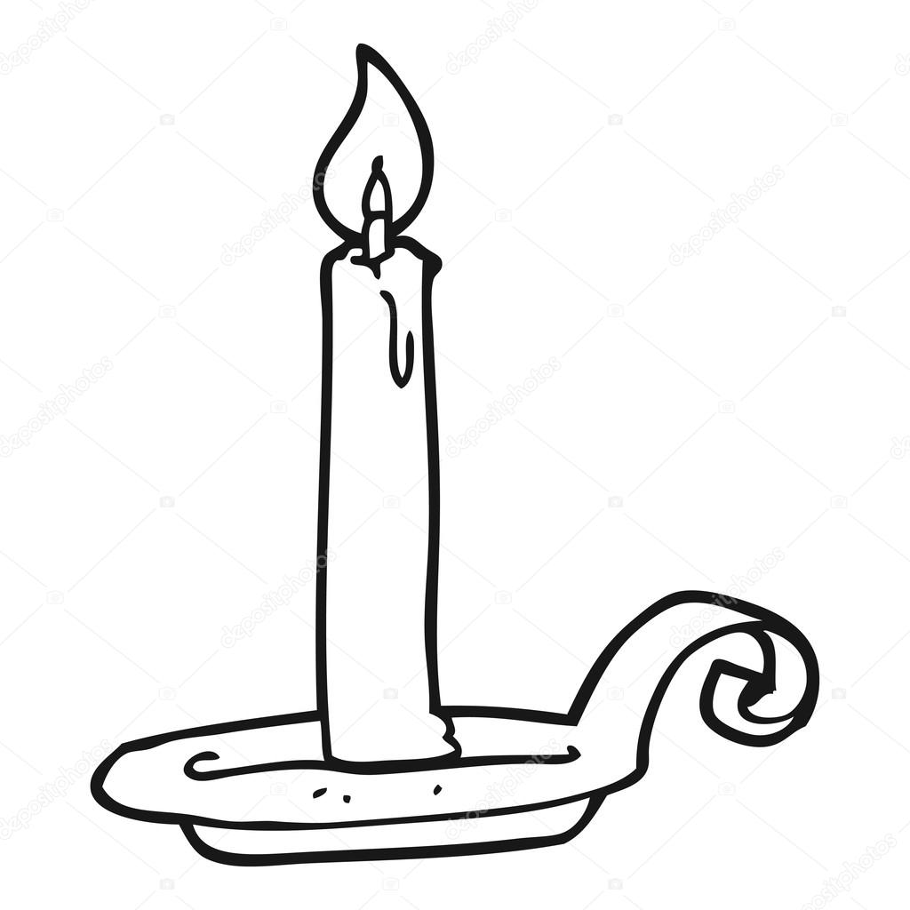 black and white cartoon candle burning — Stock Vector ... for Candle Clip Art Black And White  103wja
