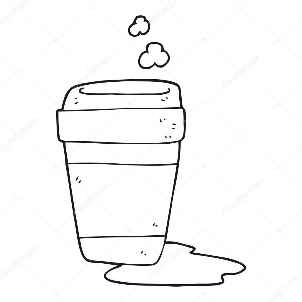 taza de café blanco y negro de dibujos animados — Archivo Imágenes ...