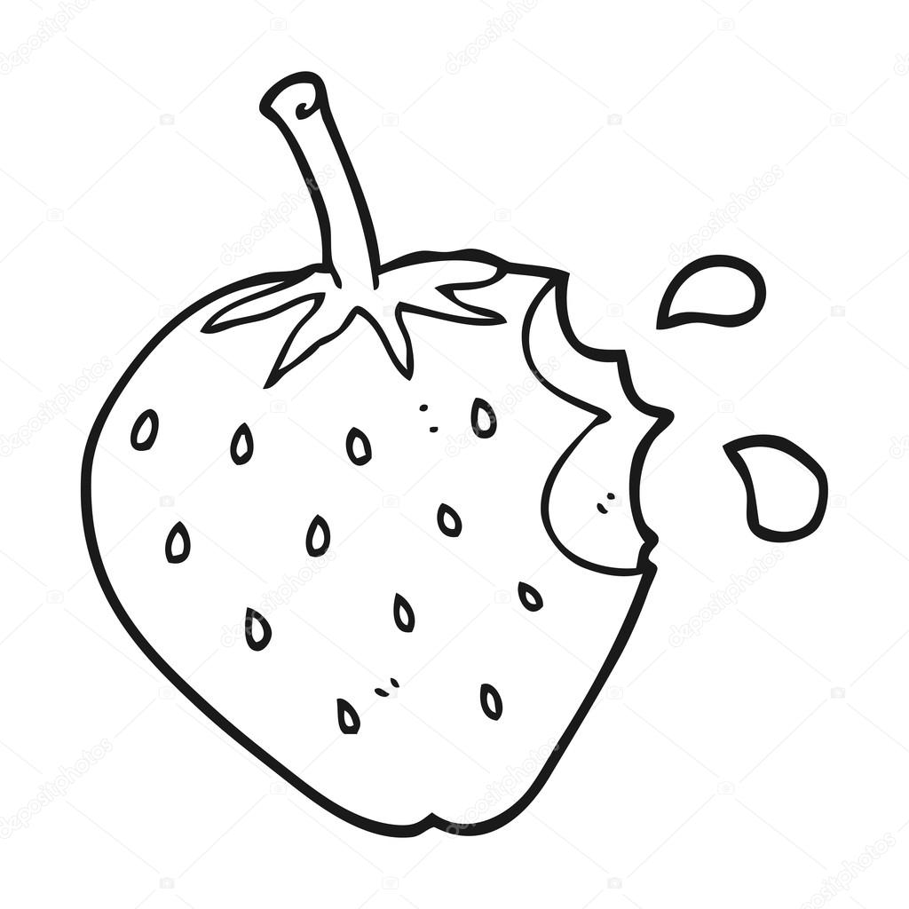 black and white cartoon strawberry — Stock Vector ... for Clipart Strawberry Black And White  284dqh