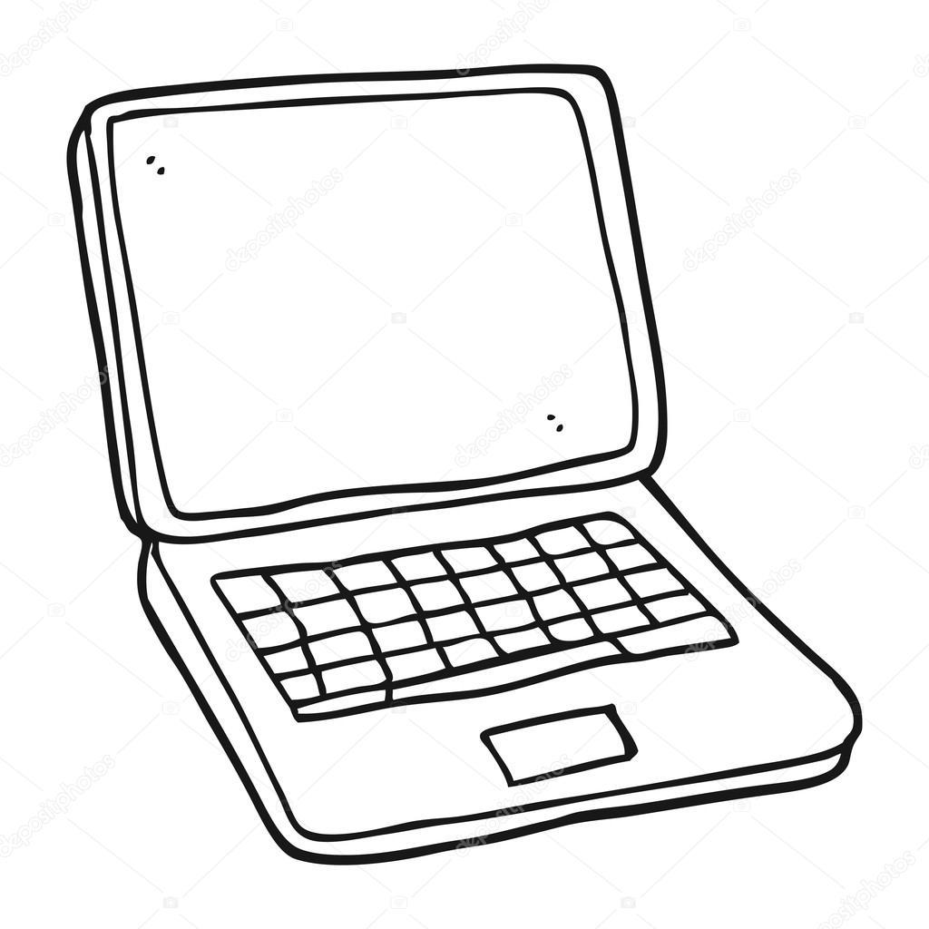 Ordinateur Portable Noir Et Blanc Dessin Anime Image Vectorielle