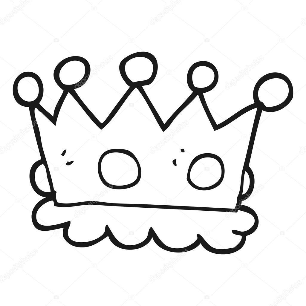 Corona De Dibujos Animados Blanco Y Negro Archivo Imágenes