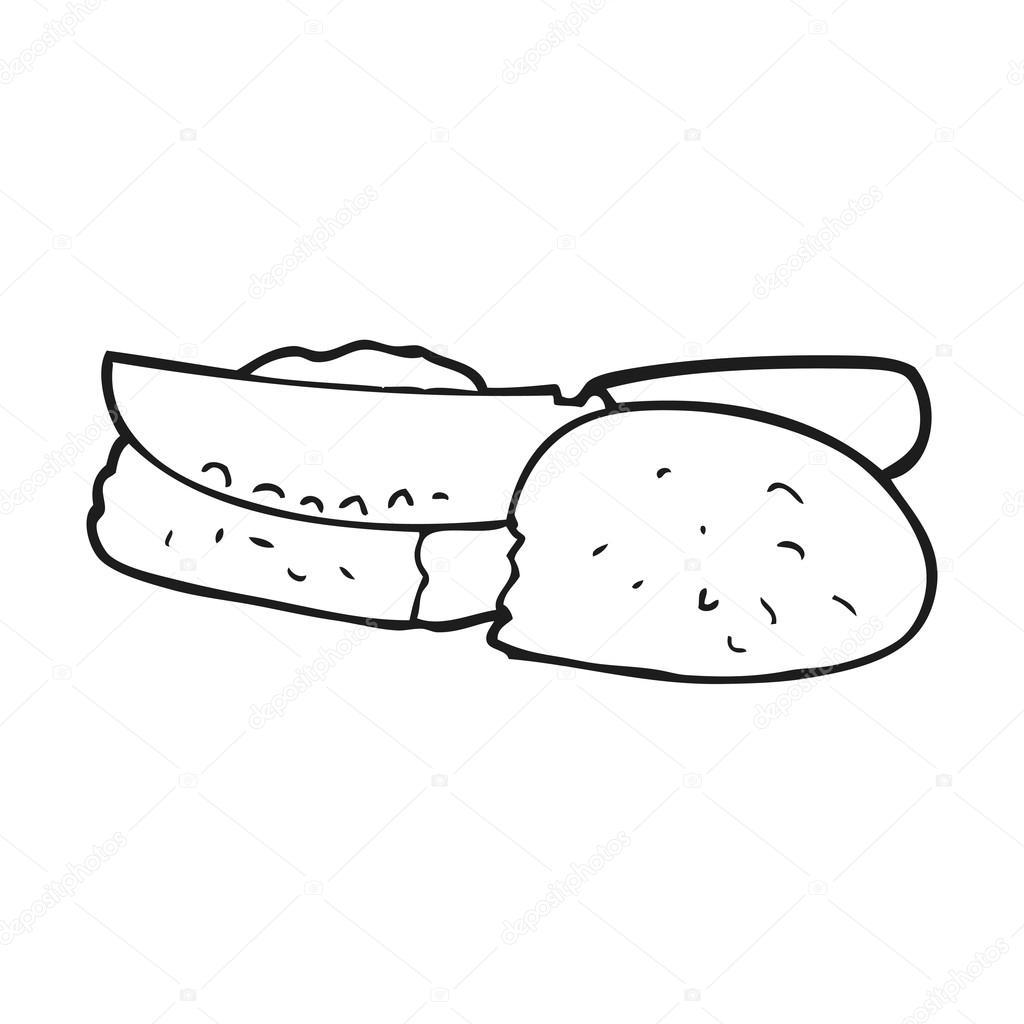 dibujos animados blanco y negro cortar pan — Archivo Imágenes ...