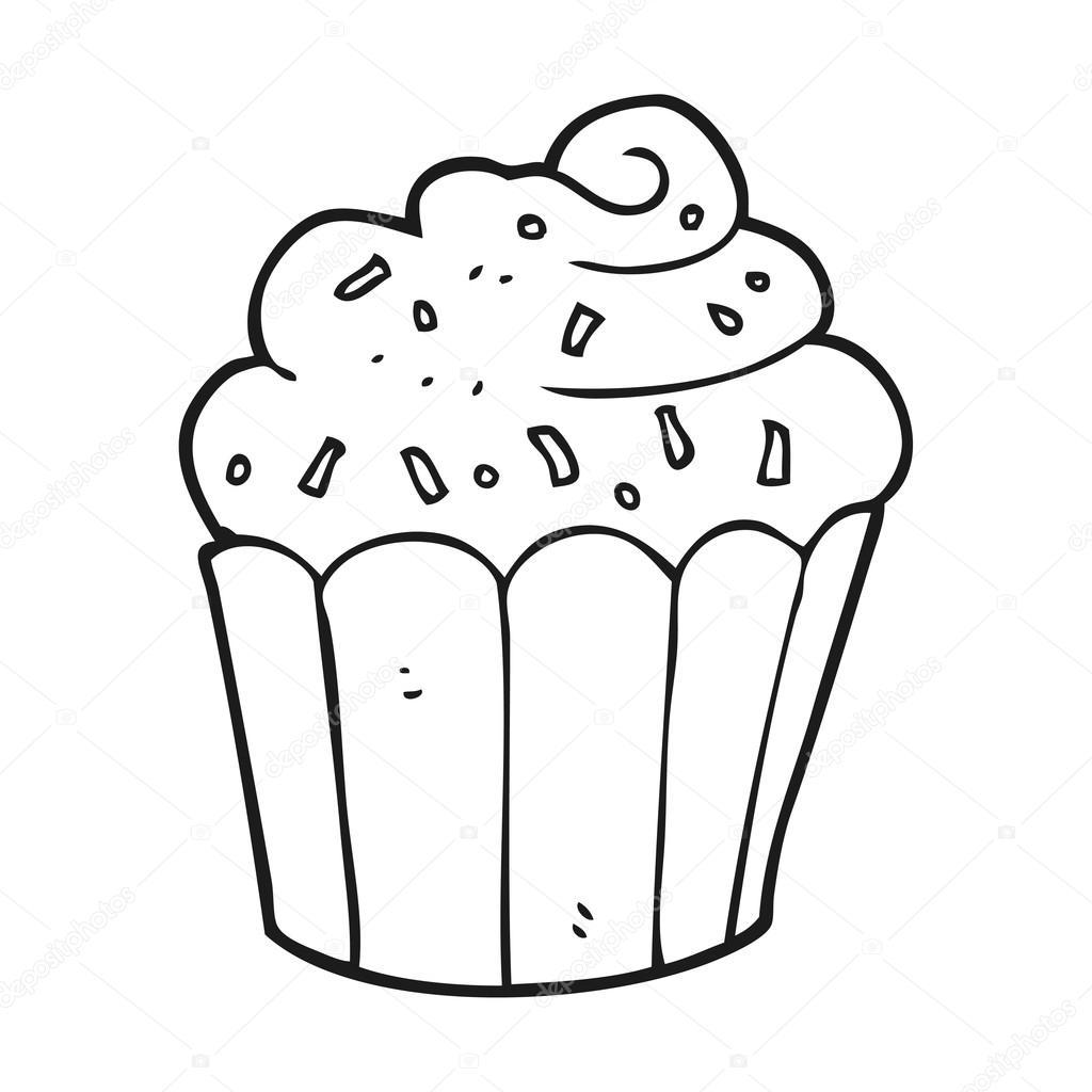 Petit Gâteau Dessin Animé Noir Et Blanc Image Vectorielle