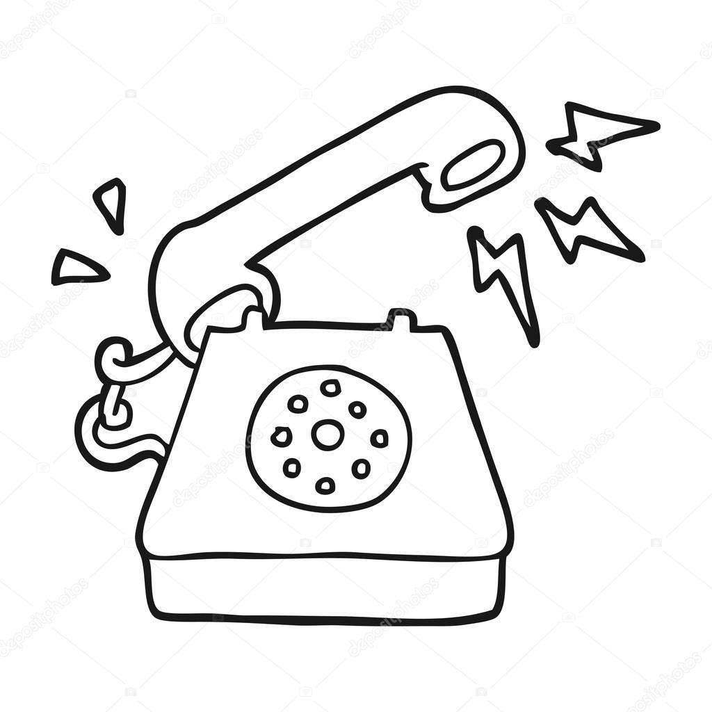 blanco y negro de dibujos animados llamada tel233fono