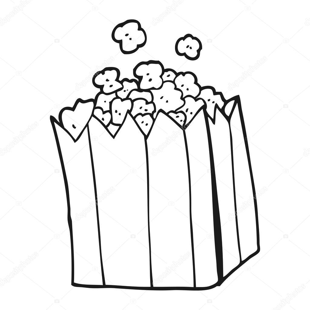 Siyah Beyaz çizgi Film Patlamış Mısır Stok Vektör